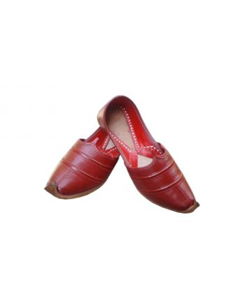 Red Mens Pure Leather Punjabi Jutties Handmade Shoes