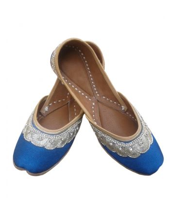 Blue Color Punjabi Bridal Jutti