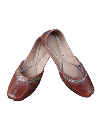 Brown women casual leather jutti shoes for girl