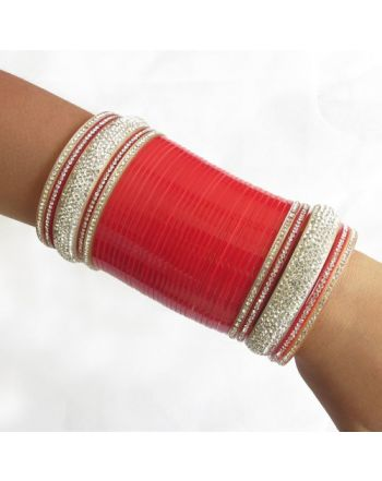 Bridal Wedding Chura Bangles Set/rhinestones Red Wedding Bridal Chura Choora